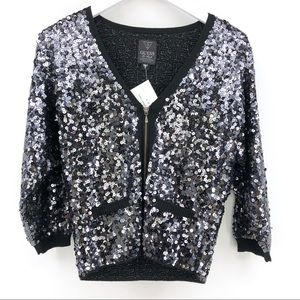 Guess Sequin Jacket M Top 3/4 Sleeve Bling Sparkle